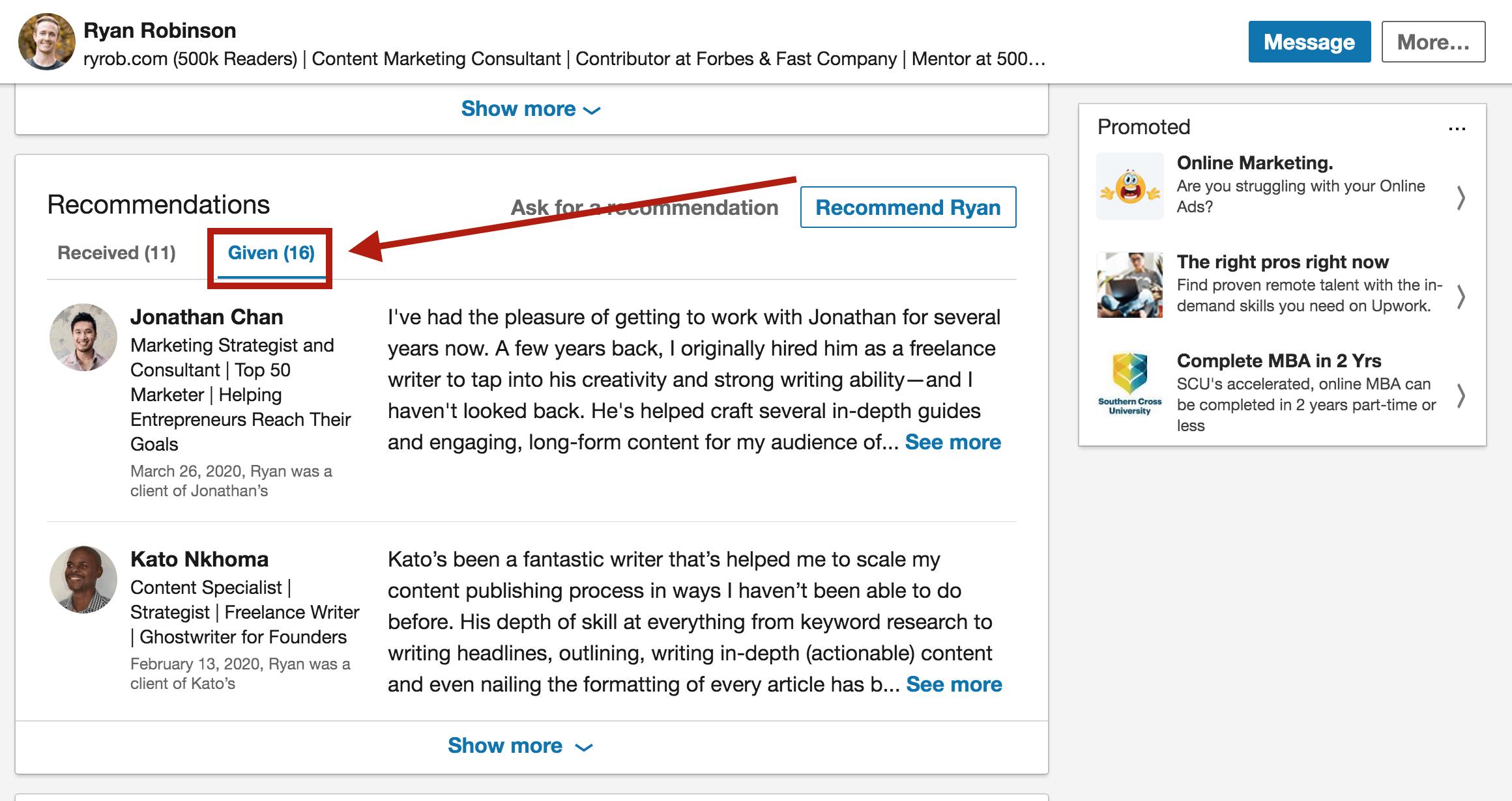 LinkedIn testimonials